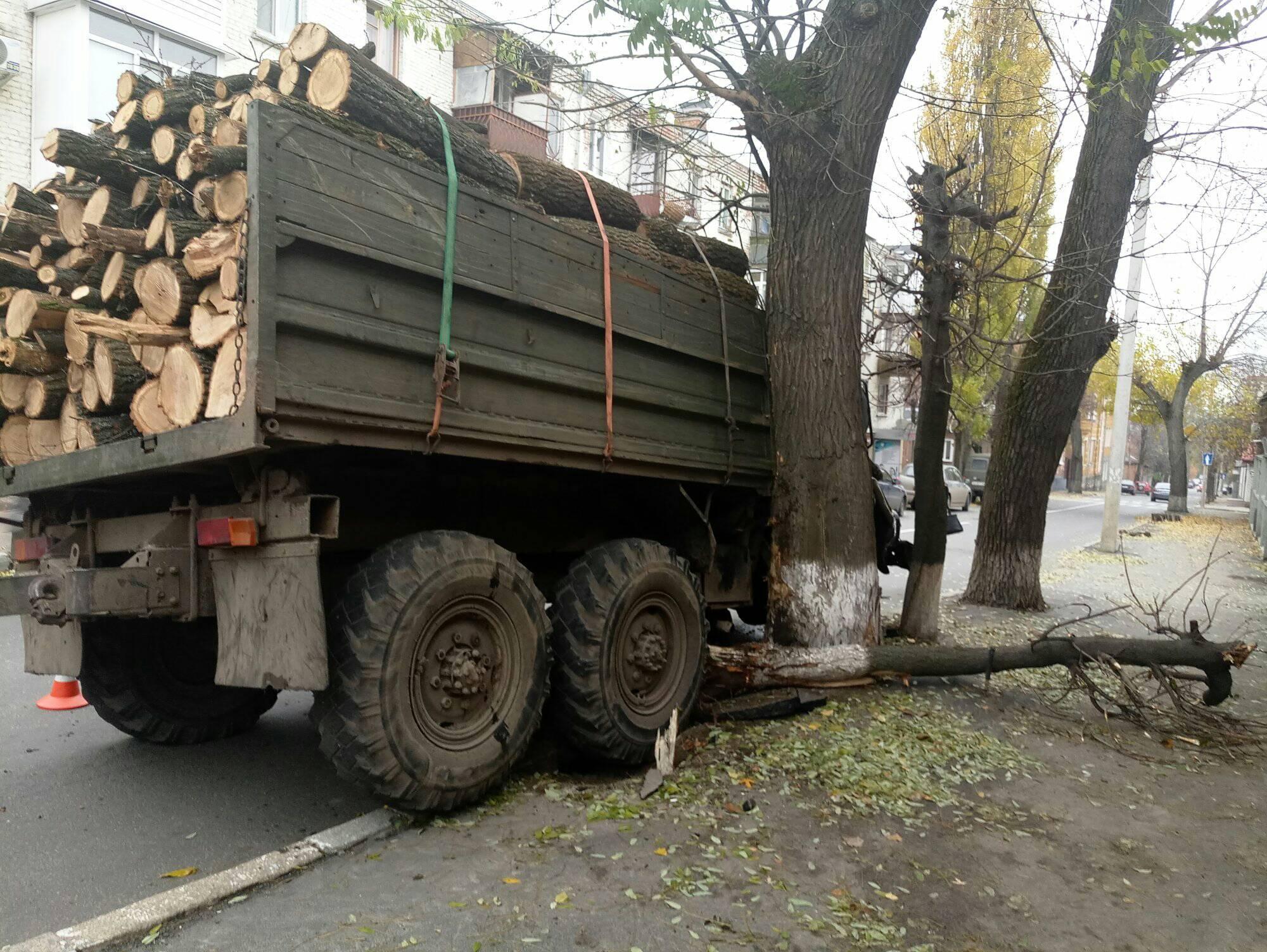 Без Купюр У Кропивницькому вантажівка з дровами і несправними гальмами наламала дров, врізавшись у дерево. ФОТО Події  Кропивницький ДТП вантажівка