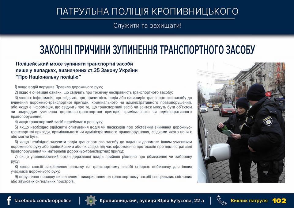 Без Купюр У яких випадках патрульні мають право зупиняти автомобілі: перелік законних підстав Життя  поліція Патрульна поліція Кропивницький