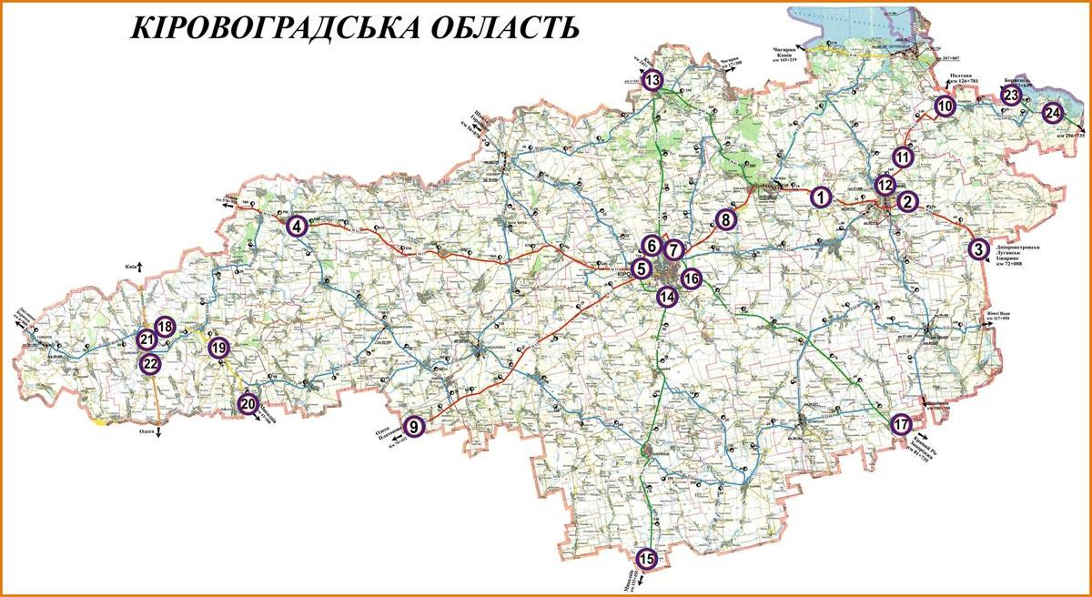 мапа Кіровоградська область