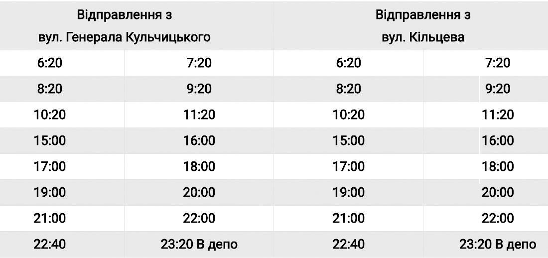 Графік руху автобусного маршруту №103
