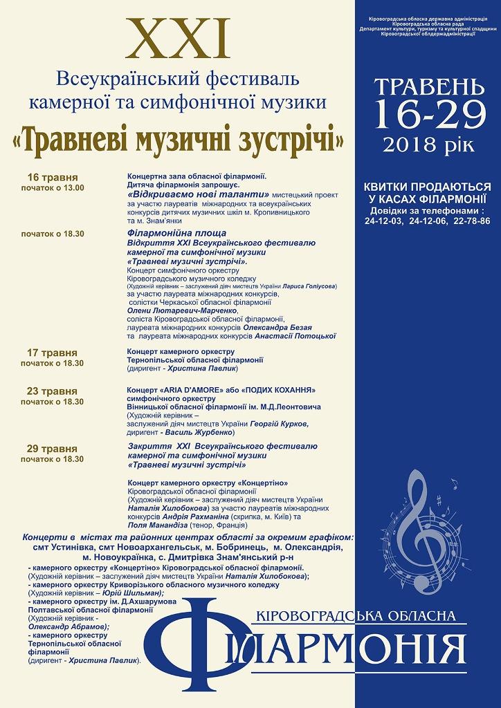 Без Купюр У Кропивницькому триває Всеукраїнськи фестиваль камерної та симфонічної музики Культура  філармонія фестиваль оркестр музика Кропивницький камерна та симфонічна музика