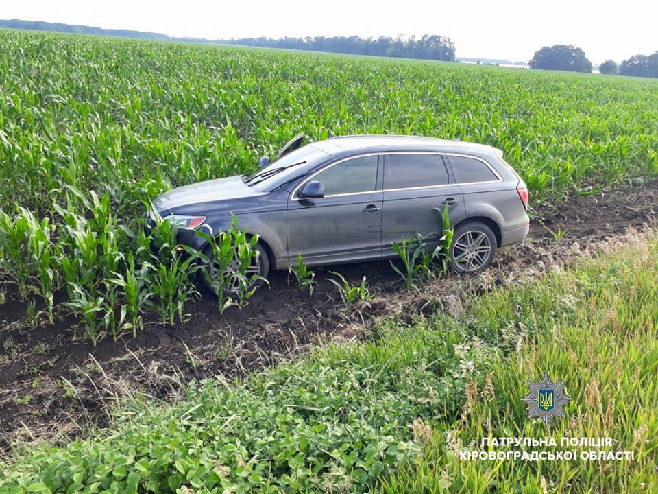 Без Купюр На Кіровоградщині учасники ДТП залишили автівку в полі з кукурудзою і намагалися втекти. ФОТО За кермом  Патрульна поліція Кіровоградщина ДТП