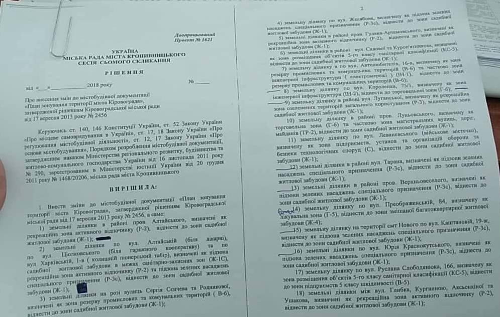 Без Купюр У Кропивницькому змінили цільове призначення низки ділянок Політика  Кропивницький Кропивницька міська рада зміна цільового призначення