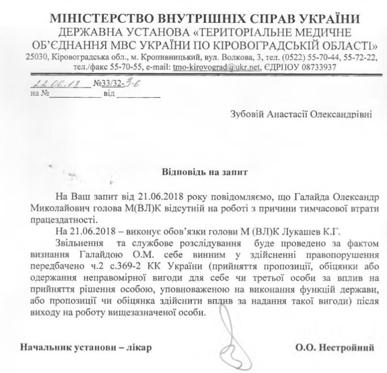 Без Купюр Начальника військово-лікарської комісії, який визнав себе винним у справі про корупцію, досі не звільнили Корупція  олександр галайда Кропивницький