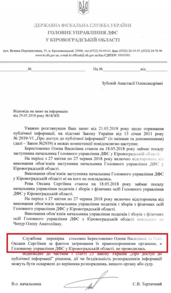 Вже не хабарниці: у Кропивницькому чиновницям ДФС інкримінують «легшу» статтю 4