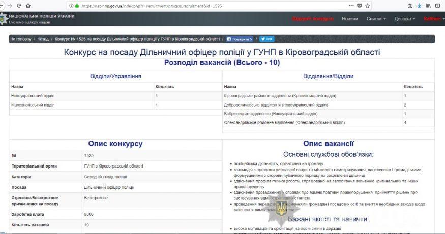 На Кіровоградщині вакантні 10 посад дільничних офіцерів