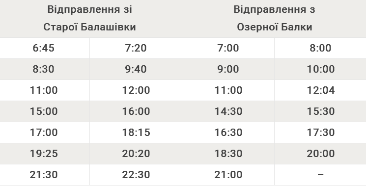 Автобусний маршрут №111А Стара Балашівка – Озерна Балка