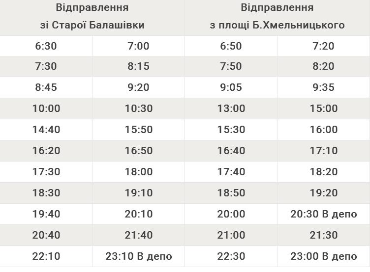 Автобусний маршрут №111Б Стара Балашівка – Площа Богдана Хмельницького
