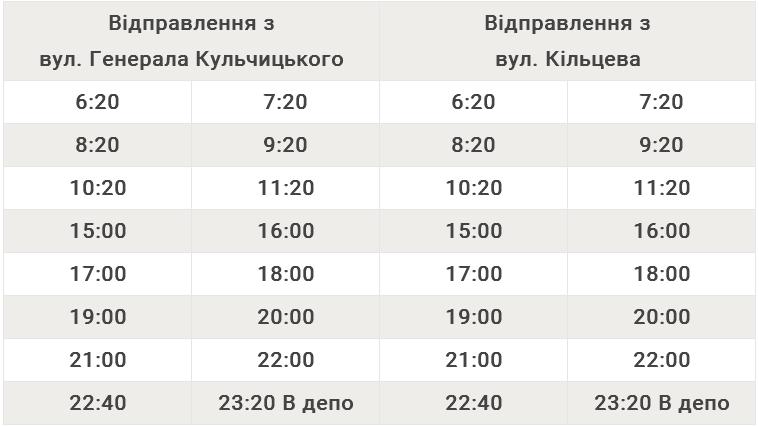 Автобусний маршрут №103 вул. Генерала Кульчицького – вул. Кільцева