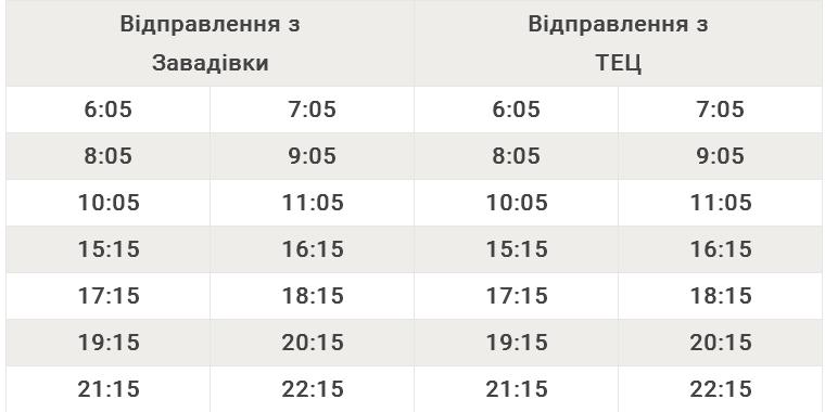 Автобусний маршрут №123 Завадівка – ТЕЦ