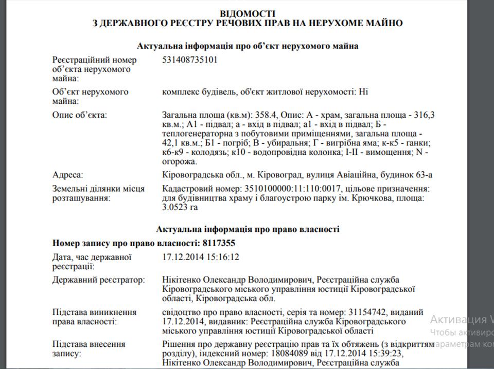 Без Купюр Кому належить храм, який міський голова Кропивницького хоче передати ПЦУ Життя  храм Кропивницький власники