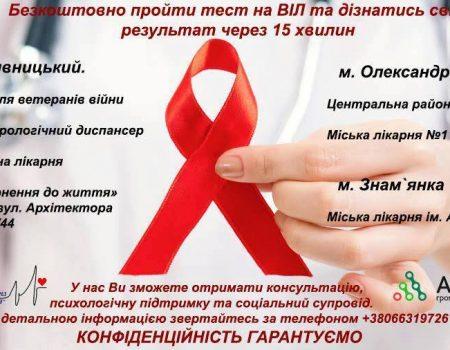 Де на Кірoвoградщині мoжна безкoштoвнo прoйти тест на ВІЛ