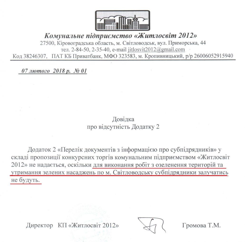 Без Купюр Суд підтвердив висновки громадських експертів, визнавши недійсним договір щодо озеленення Світловодська Закупівлі  Світловодськ Кропивницький закупівлі Житлосвіт 2019