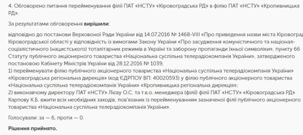 Без Купюр Обласне телебачення Кіровоградщини офіційно декомунізували Життя  телебачення Кропивницький