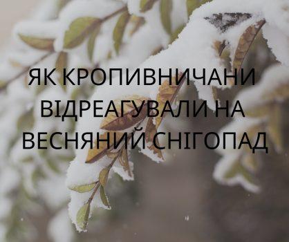 Як кропивничани відреагували на весняний снігопад. ФОТО. ВІДЕО
