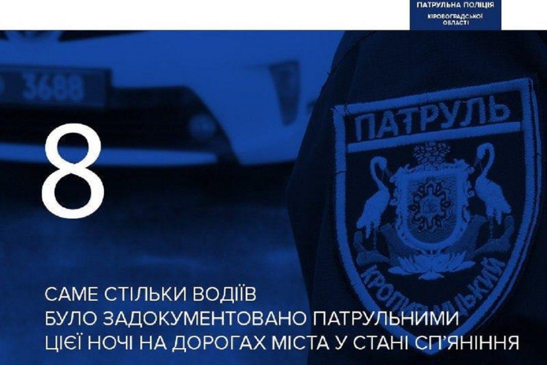 Без Купюр За ніч у Кропивницькому зупинили 8 п'яних водіїв За кермом  Патрульна поліція п'яний водій 2020 рік