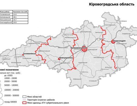 Кабмін затвердив новий поділ Кіровоградщини на райони