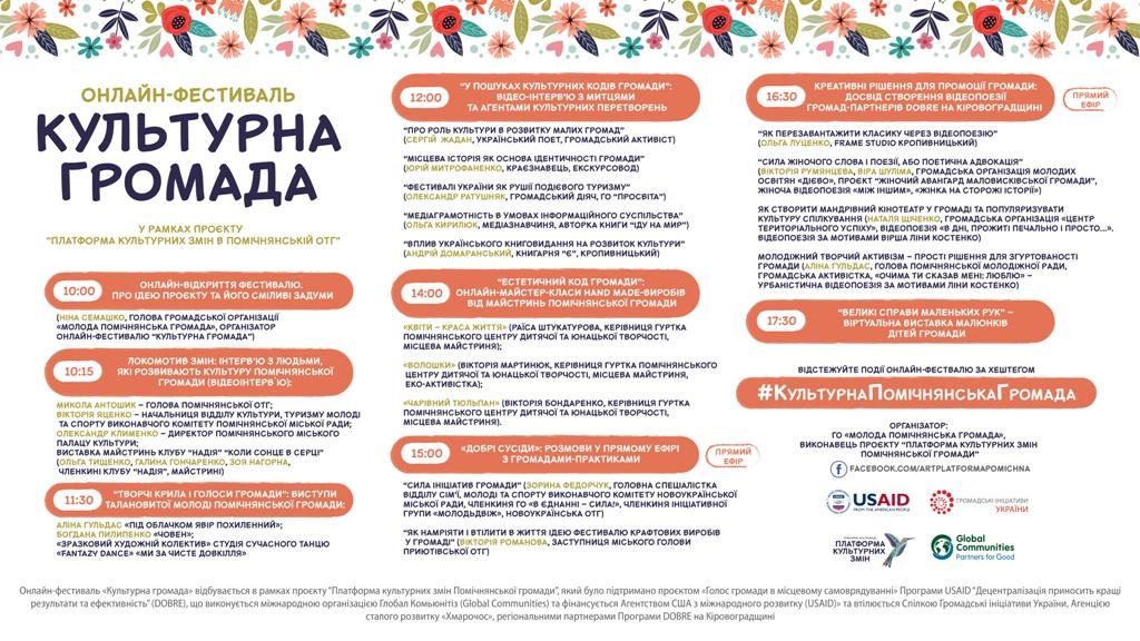 """Без Купюр """"Культурна громада"""": У Помічнянській ОТГ відбудеться онлайн-фестиваль Культура  фестиваль онлайн Молода Помічнянська громада 2020 рік"""