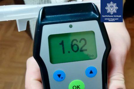 У Кропивницькому затримали водія, рівень алкоголю в крові якого у 8 разів перевищував норму
