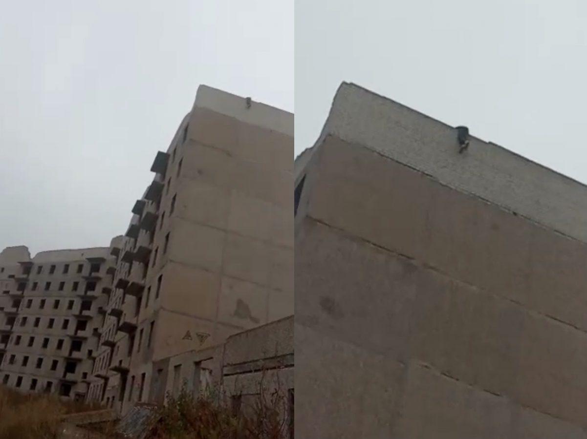 Без Купюр У Кропивницькому людина повисла на даху недобудованої багатоповерхівки. ФОТО. ВІДЕО Життя  руфер новини Кропивницький Безпечне місто