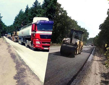 Дорожники влаштовують вирівнюючий шар покриття на дорозі Черкаси-Чигирин-Кременчук